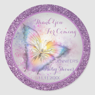 Adorable Purple Butterfly Thank You Baby Shower Classic Round Sticker