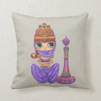 Adorable Purple Genie Girl Big Green Eyes Throw Pillow