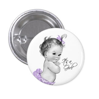 Adorable Purple Its a Girl Button