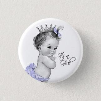 Adorable Purple Princess Its a Girl Button