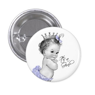 Adorable Purple Princess Its a Girl Button