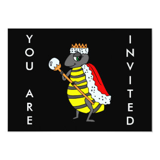 "Adorable Queen Bee Cartoon 5"" X 7"" Invitation Card"