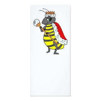 "Adorable Queen Bee Cartoon 4"" X 9.25"" Invitation Card"