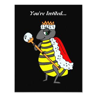 "Adorable Queen Bee Cartoon 4.25"" X 5.5"" Invitation Card"