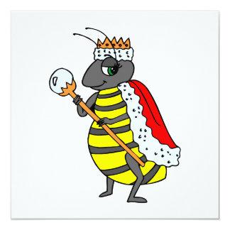 "Adorable Queen Bee Cartoon 5.25"" Square Invitation Card"