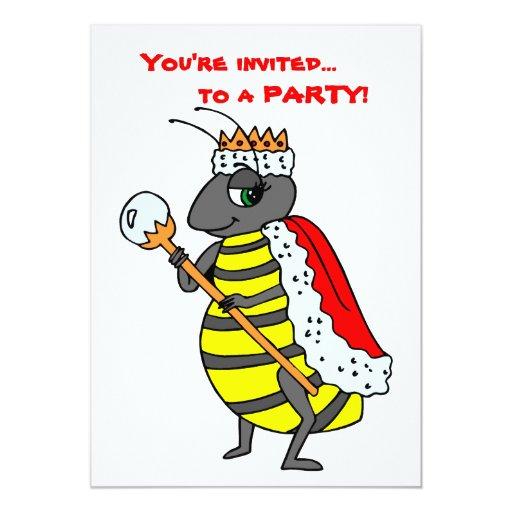 Adorable Queen Bee Cartoon Personalized Invitation