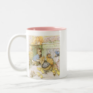 Adorable Rabbit and Poultry Two-Tone Coffee Mug