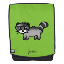 adorable raccoon animal cartoon (add name) backpack