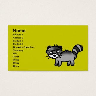 adorable raccoon animal cartoon business card