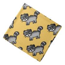 adorable raccoon animal cartoon pattern bandana