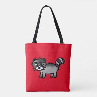adorable raccoon animal cartoon tote bag