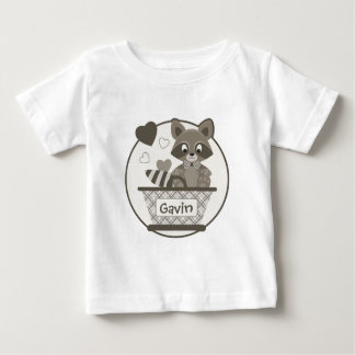 Adorable raccoon in basket with grey tartan baby T-Shirt