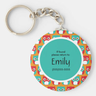 Adorable Red and Teal Owls on Orange Personalized Keychain
