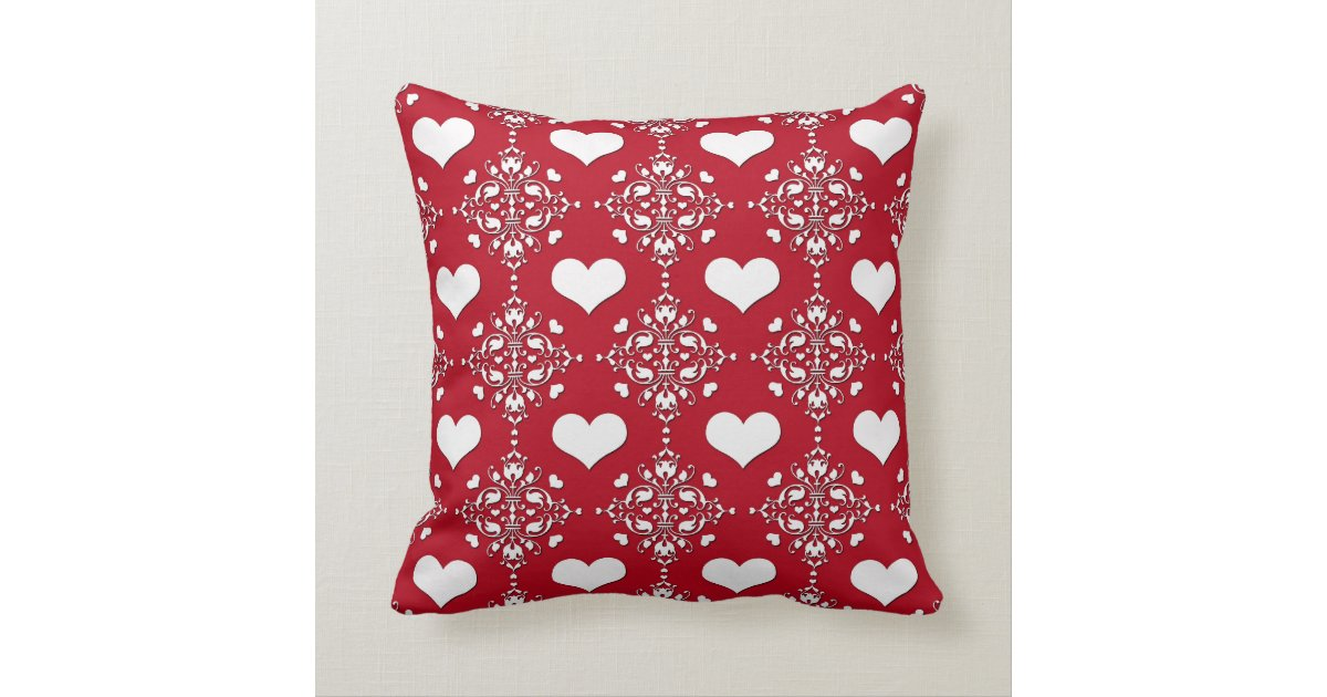 Throw Pillows Red And White : Adorable Red and White Damask with Hearts Throw Pillow Zazzle