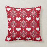 Adorable Red and White Damask with Hearts Throw Pillow
