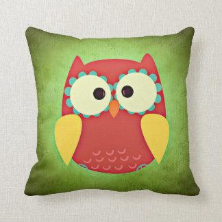 Adorable Red and Yellow Owl   Nursery Decor Throw Pillow
