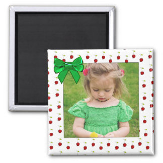 Adorable Red Cherry Photo Magnet Green Bow