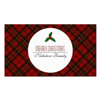 Adorable Red Christmas tartan Holly twig Gift tag Business Card