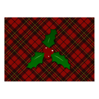 Adorable Red Christmas tartan look with Holly twig Large Business Card