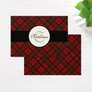 Adorable Red Christmas tartan Monogram Business Card