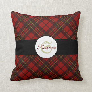 Adorable Red Christmas tartan Monogram - PLdesign Throw Pillow
