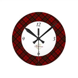 Adorable Red Christmas tartan Monogram Round Clock