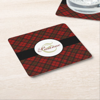 Adorable Red Christmas tartan Monogram Square Paper Coaster