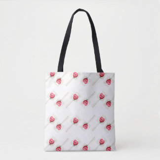Adorable Red Heart Lollipop Sweet Candy Watercolor Tote Bag