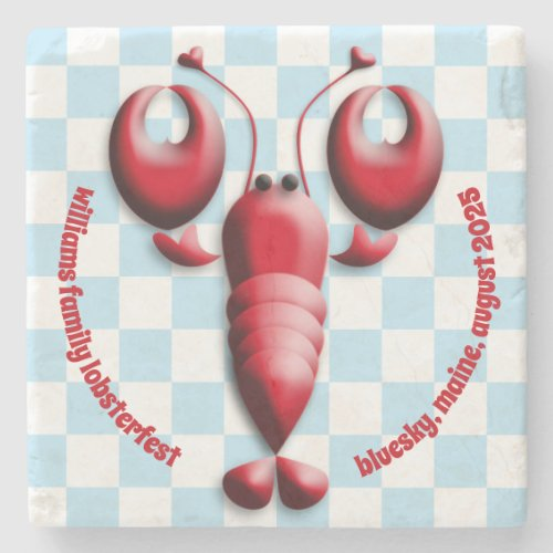 Adorable Red Lobster Heart Pincers Blue Checkered Stone Coaster