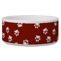 Adorable Red White Paw Printed Large Dog Bowl