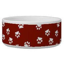 Adorable Red White Paw Printed Large Dog Bowl