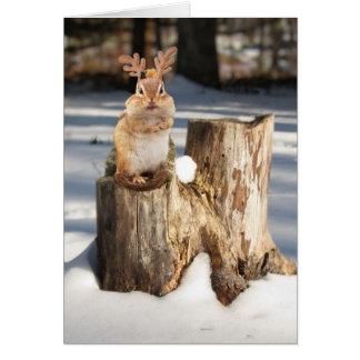 """Adorable """"Reindeer"""" Chipmunk Greeting Cards"""