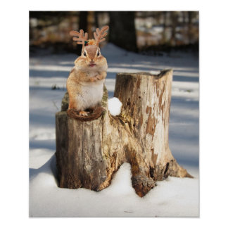 "Adorable ""Reindeer"" Chipmunk Poster"