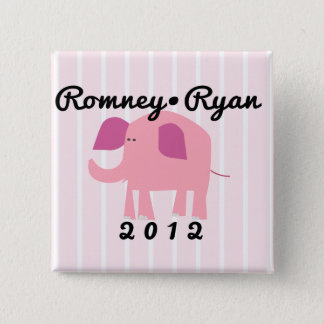 Adorable Republican Elephant, Romney/Ryan Pinback Button