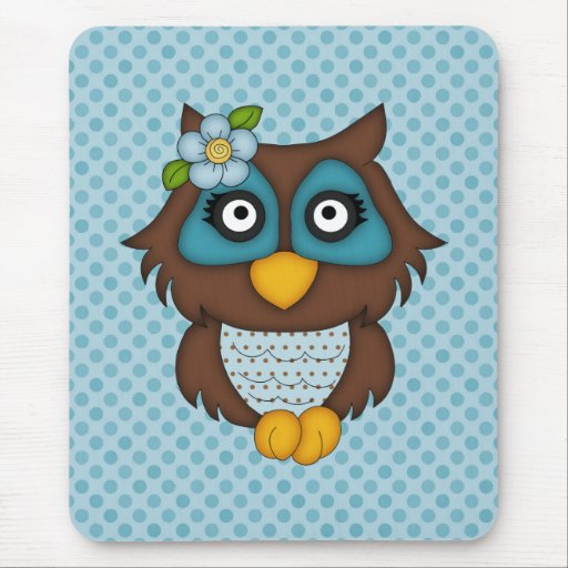 Adorable Retro Blue Owl Gifts and Tees Mouse Pads