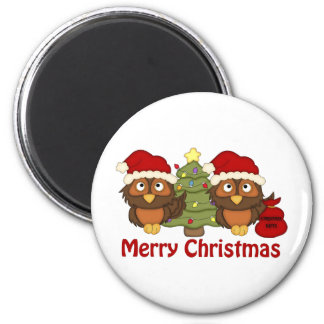 Adorable Retro Christmas Holiday Owl Gifts, Tees Magnet