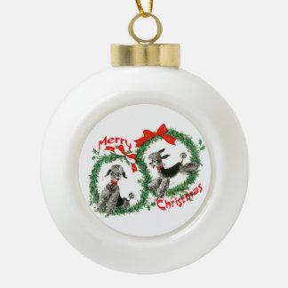 Adorable Retro Christmas Poodles Wreath Ceramic Ball Christmas Ornament