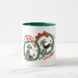 Adorable Retro Christmas Poodles Wreath Custom Mug