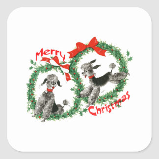Adorable Retro Christmas Poodles Wreath Custom Square Sticker