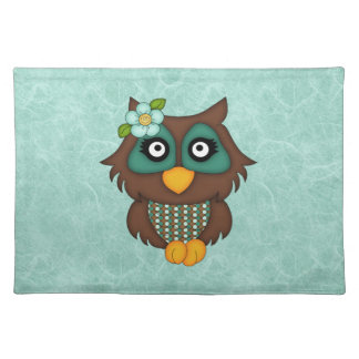 Adorable Retro Green Owls Cloth Placemat