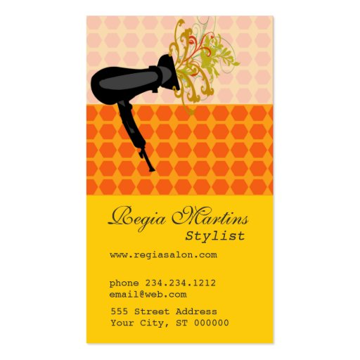 Adorable Retro Salon Hair Stylist Cool Hair Dryer Double-Sided Standard Business Cards (Pack Of 100)