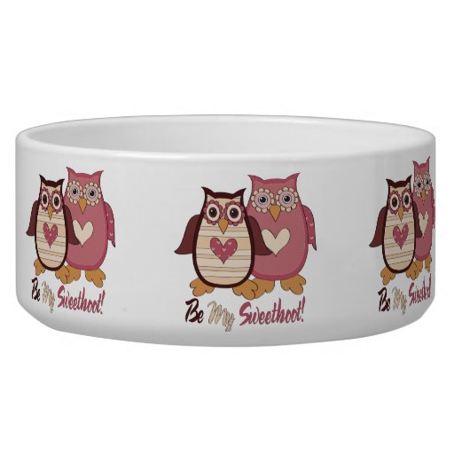 Adorable Retro Valentine Owls Tees and Gifts Dog Food Bowl
