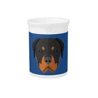 Adorable Rottweiler Cartoon Drink Pitcher
