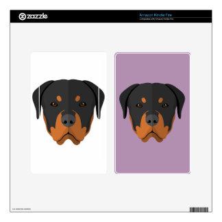 Adorable Rottweiler Cartoon Skins For Kindle Fire