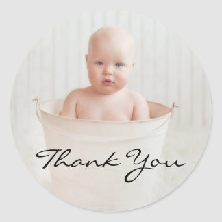 Adorable Rustic Baby Shower Thank You Classic Round Sticker