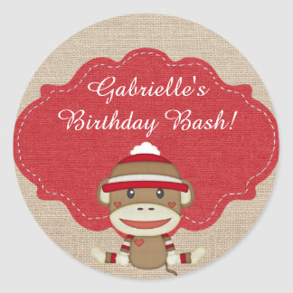Adorable Rustic Custom Sock Monkey Party Classic Round Sticker