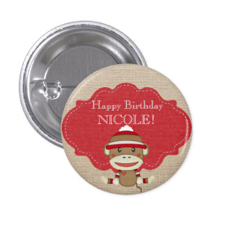 Adorable Rustic Custom Sock Monkey Party Pinback Button