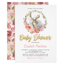 Adorable Rustic Deer Pink Floral Baby Shower Invitation
