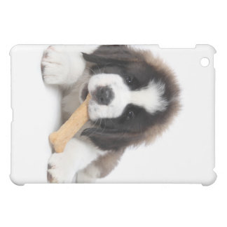 Adorable Saint Bernard Puppy Chewing on a Dog Bone Cover For The iPad Mini