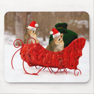 Adorable Santa Baby Chipmunks in Sleigh Mouse Pad